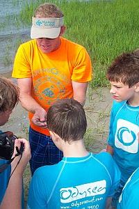 Marine Biology Camp Instructor for MarineQuest in marsh with students