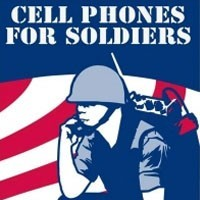 drawing of a soldier using a cell phone