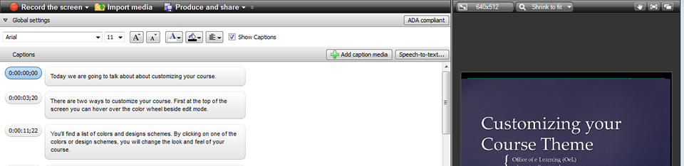 Adding Captions in Camtasia
