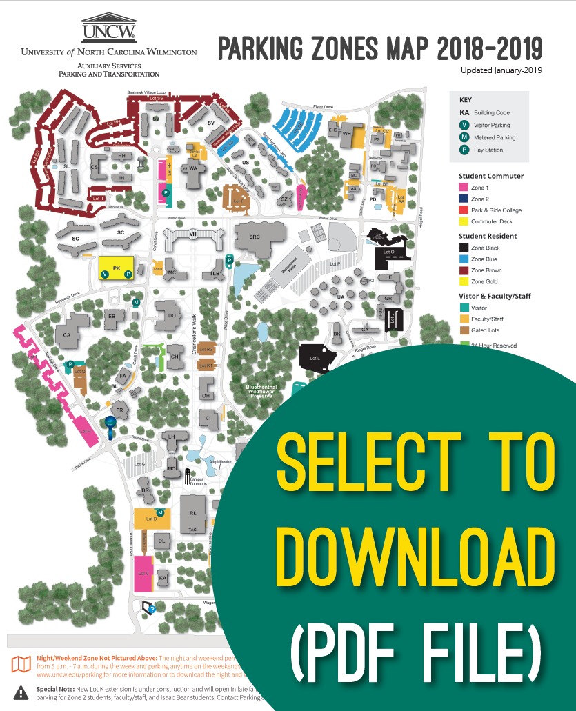 Zones And Maps Parking Uncw