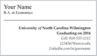 Student Business Card Template with teal horizontal rule