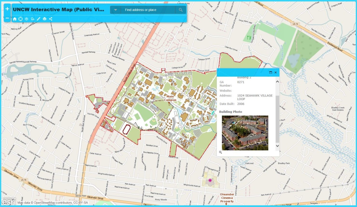Main Campus ArcGIS Online Map