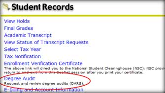 Degree Audit link