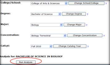 Select degree options