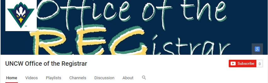 UNCW Office of the Registrar YouTube page