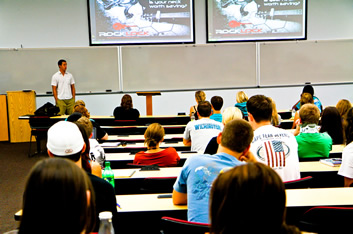 Goulet educates a UNCW business class about Rock Lock