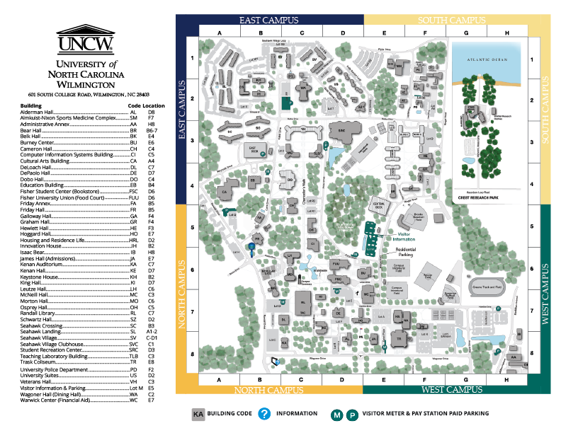 Visitor Parking: Parking Services: UNCW on stanford building map, south alabama building map, unc building map, radford building map, tennessee building map, auburn building map, nccu building map, pepperdine building map, vanderbilt building map, sfsu building map, northeastern building map, usc building map, american university building map, coastal carolina building map, wichita state building map, indiana building map, old dominion building map, georgia tech building map, csuf building map, clemson building map,