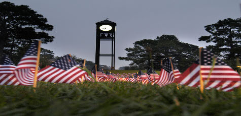 Clock Tower with American Flags