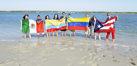 UNCW Students with Flags