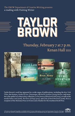 Visiting Writer Taylor Brown to Read at the University of